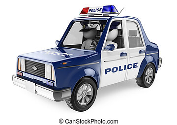 coche, personas., policía, 3d, blanco