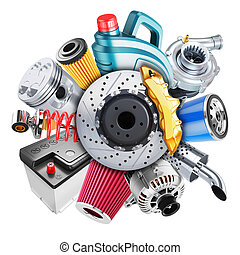 coche, piezas de repuesto, logo., concepto, 3d