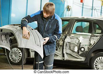 coche, plástico, reparador, sanding, parachoques