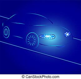 coche, plano de fondo, silueta