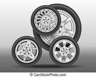 coche, poco, ruedas, creado