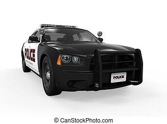coche, policía, aislado