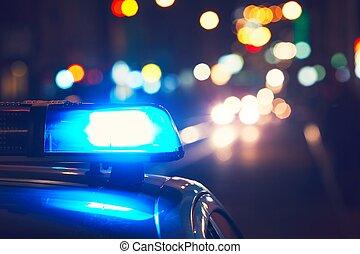 coche, policía, calle
