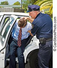 coche, policía, shoved