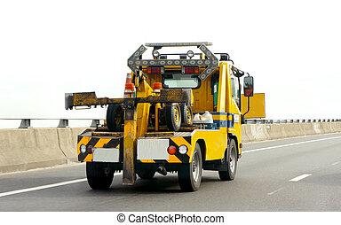 coche, portador, camión, carretera