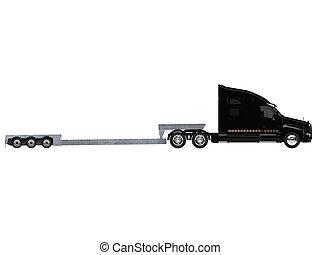coche, portador, camión, vista lateral