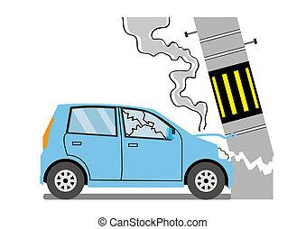 coche, poste,  collided, telégrafo