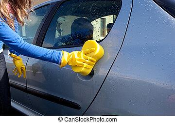 coche, primer plano, mujer, limpieza, ella