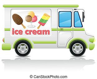 coche, proceso de llevar, vector, helado
