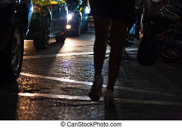 coche, prostitución, bangkok, calle, headllights, piernas