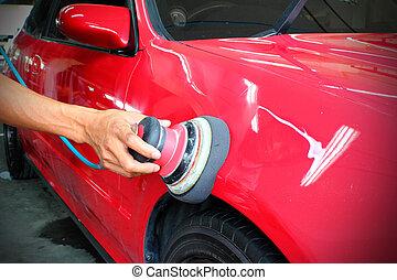 coche, pulido, rojo