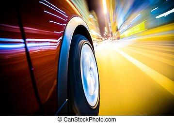 coche, rápido, conducción
