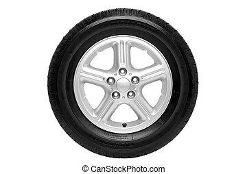 coche, recorte, aislado, neumático, trayectoria