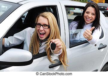 coche, rental:, mujeres, conducción, un, coche nuevo