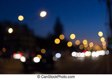 coche, resumen, bokeh, calle, defocused, luz
