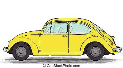coche, retro, amarillo