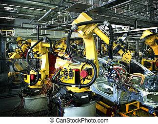 coche, robotes, fábrica, soldadura