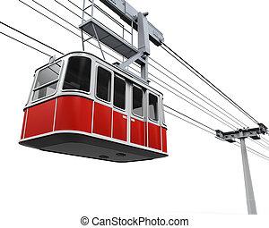 coche, rojo, cable