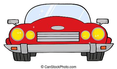 coche, rojo, convertible