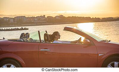 coche, rojo, playa.