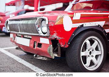 coche rojo, roto, frente, lado