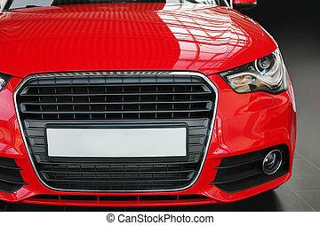 coche, rojo, vista delantera