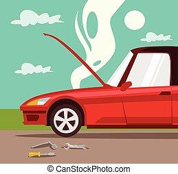coche, roto, accidente, coche.