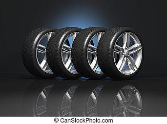 coche, ruedas, conjunto