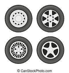 coche, ruedas, iconos, conjunto, blanco, fondo., vector