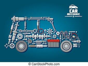 coche, ruedas, silueta, detalles