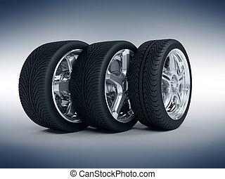 coche, ruedas