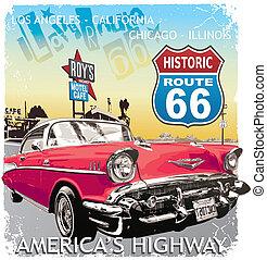 coche, ruta 66, clásico