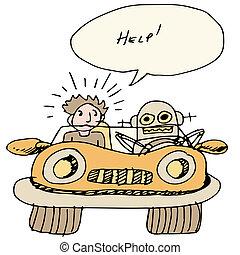 coche, sí mismo, conducción