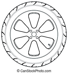 coche, símbolo, camión, o, neumático