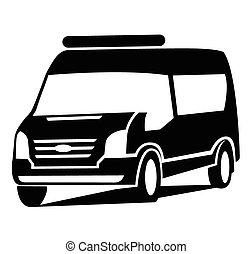 coche, símbolo, furgoneta