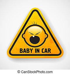 coche, screamong, calcomanías, baby`s, cara