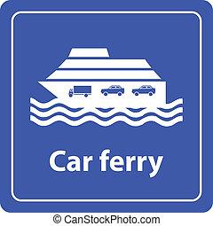 coche, señal, mar, transbordador, puerto
