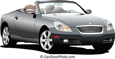 coche, sedán, en, el, road., vector, illus