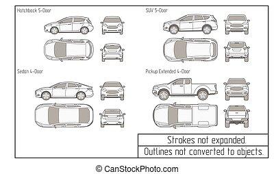 coche, sedán, y, suv, dibujo, contornos, no, convertido, a,...