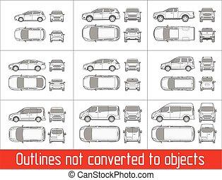 coche, sedán, y, suv, y, furgoneta, todos, vista, dibujo,...