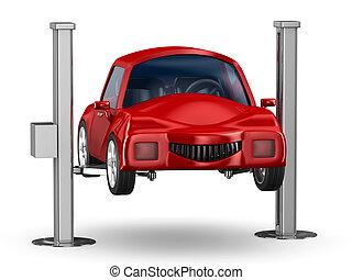 coche, service., aislado, 3d, imagen