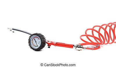 coche, setting., manómetro, neumático, presión