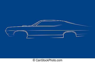 coche, silueta, 1970, clásico, blanco
