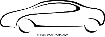 coche, silueta, emblem.