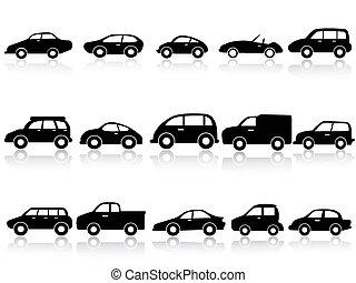 coche, silueta, iconos