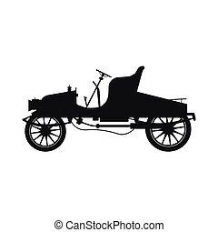 coche, silueta, retro, negro