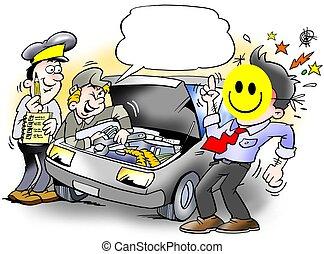 coche, smiley, inspección