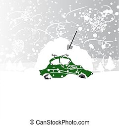 coche, snowbank, invierno, ventisca, techo