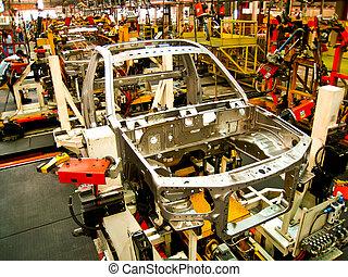 coche, soldadura, planta de fabricación