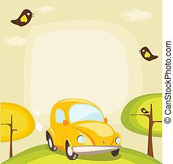 coche, su, lugar, plano de fondo, texto, caricatura